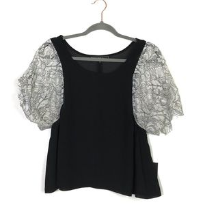 Love Stitch Sheer Lace Sleeve Blouse M NWT